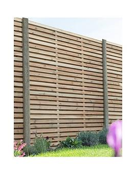 Forest 1.8M X 1.8M Pressure Treated Double Slatted Fence Panel - Pack Of 3