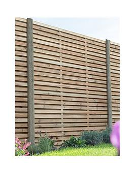 Forest 1.8M X 1.8M Pressure Treated Double Slatted Fence Panel - Pack Of 4