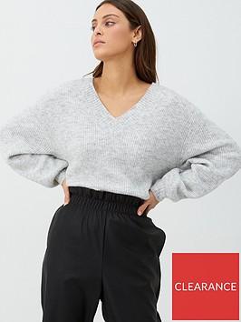 v-by-very-v-neck-balloon-sleeve-jumper-grey-marl