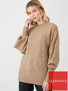 v-by-very-ribbed-cuff-balloon-sleeve-jumper-beige
