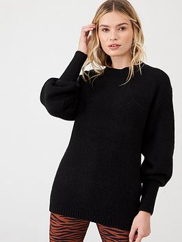v-by-very-ribbed-cuff-balloon-sleeve-jumper-black