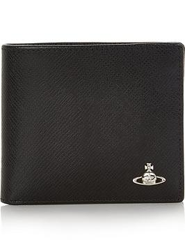 vivienne-westwood-mens-kent-textured-leather-billfold-wallet-black