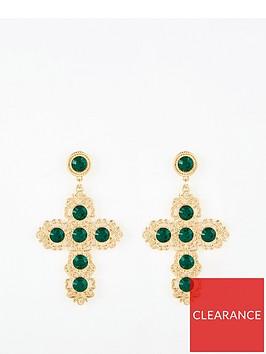 v-by-very-emerald-cross-earrings-gold