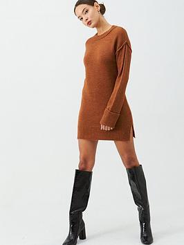 v-by-very-seam-detail-dress-rust