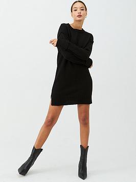 v-by-very-seam-detail-dress-black