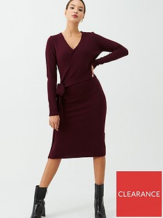 v-by-very-wrap-front-tie-side-knitted-dress-berry