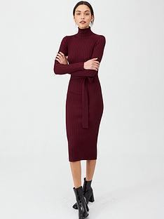 v-by-very-roll-neck-rib-self-belt-midi-dress-plum