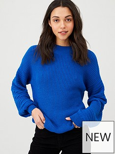 v-by-very-ribbed-ballon-sleeve-jumper-cobalt-blue