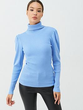 v-by-very-fine-ribbed-puff-sleeve-jumper-pale-blue