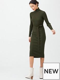v-by-very-roll-neck-rib-self-belt-midi-dress-khaki