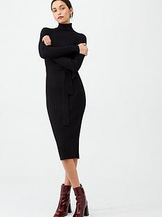 v-by-very-roll-neck-rib-self-belt-midi-dress-black