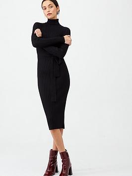 v-by-very-roll-neck-rib-self-belt-midi-dress-black