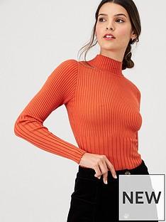 v-by-very-plaited-mix-rib-jumper-orange