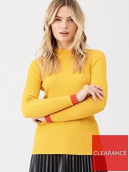 v-by-very-skinny-rib-contrast-trim-jumper-mustard