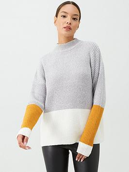v-by-very-ribbed-colour-blocked-jumper-pale-grey