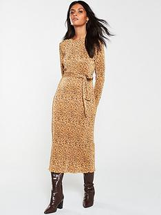 v-by-very-plisse-animal-midaxi-dress-mustard