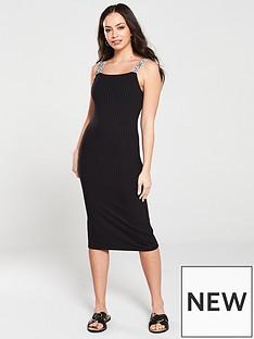 855e342779 River Island River Island Contrast Trim Jersey Midi Dress - Black
