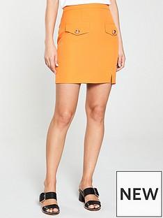 136458de71 River Island River Island Pocket A-Line Skirt-Orange