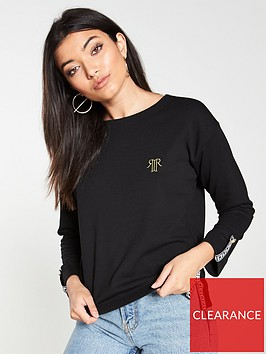 river-island-river-island-tape-detail-long-sleeved-top-black