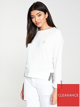 river-island-river-island-tape-detail-long-sleeved-top-white