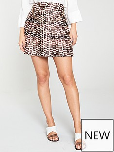 a7411b6bf2 River Island River Island Chain Print Pleated Mini Skirt-Brown