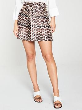 river-island-river-island-chain-print-pleated-mini-skirt-brown