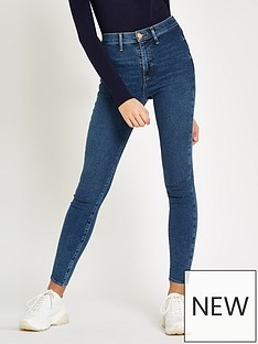 3bd00d54a35850 River Island River Island Dark Blue Kaia High Rise Disco Jean- Blue