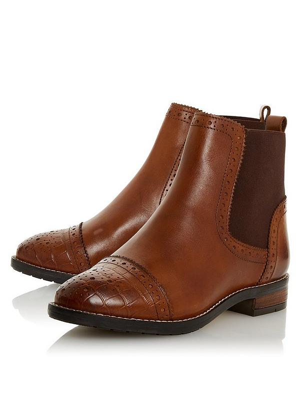 low cost top design high quality materials Wide Fit Queston Brogue Chelsea Ankle Boots - Tan