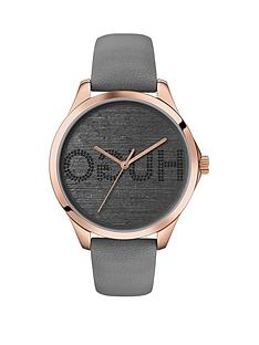 hugo-hugo-fearless-grey-and-carnation-gold-detail-branded-dial-grey-leather-strap-ladies-watch