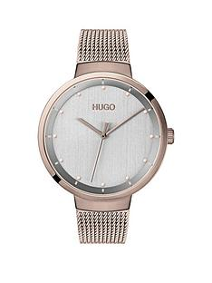 hugo-hugo-go-grey-dial-carnation-gold-stainless-steel-mesh-strap-ladies-watch