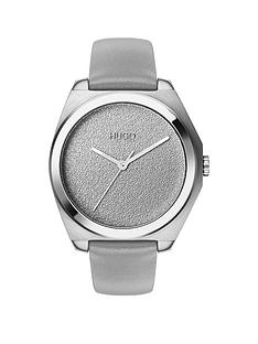 hugo-hugo-imagine-silver-textured-dial-grey-leather-strap-ladies-watch