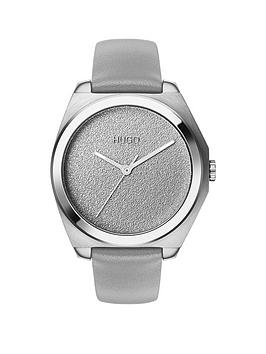 hugo-hugo-imagine-silver-textured-dial-grey-leather-strap-ladies-watch