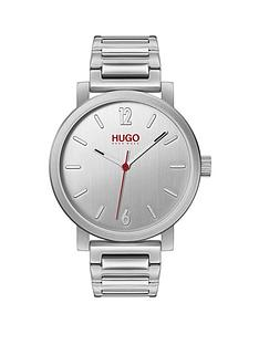 hugo-hugo-rase-brushed-silver-and-red-detail-dial-stainless-steel-bracelet-mens-watch