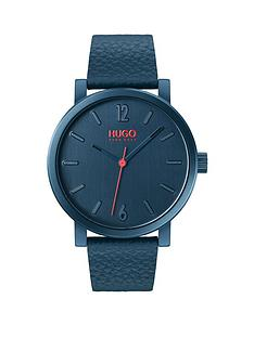 hugo-hugo-rase-brushed-blue-and-red-detail-dial-blue-leather-strap-mens-watch