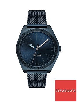 hugo-hugo-act-blue-dial-blue-ip-stainless-steel-mesh-strap-mens-watch