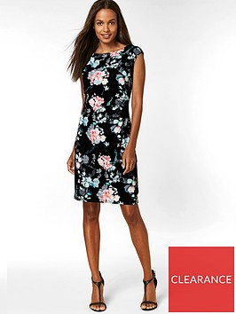 wallis-petite-oriental-floral-ruched-side-dress-black