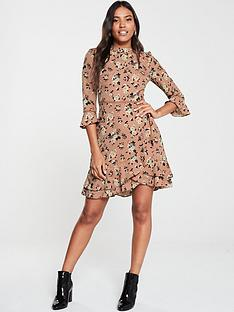 oasis-rose-print-skater-dress-tan