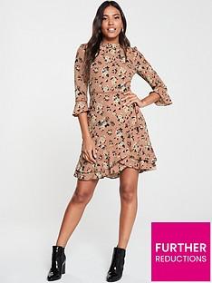 oasis-rose-print-skater-dress-tan