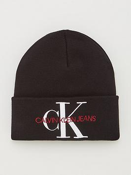 calvin-klein-jeans-knitted-logo-beanie-hat-black-beauty