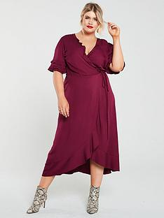 oasis-curve-ruffle-sleeve-wrap-dress-berry