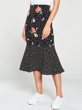 oasis-daisy-patched-bias-peplum-skirt-black