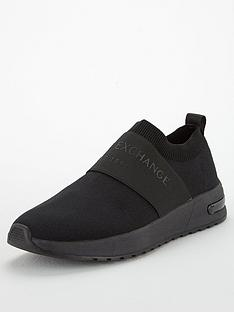 armani-exchange-logo-band-knitted-mesh-runner-trainers-black