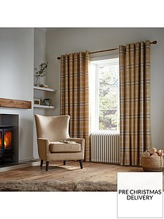 catherine-lansfield-woven-check-thermal-eyelet-curtains