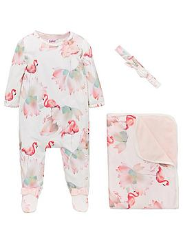 baker-by-ted-baker-baby-girls-flamingo-sleepsuit-blanket-amp-headband-off-white