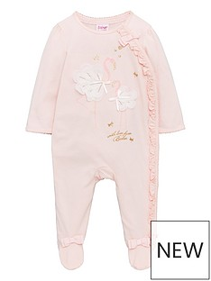 494809421a62cb Baker by Ted Baker Baby Girls Flamingo Print Sleepsuit - Light Pink