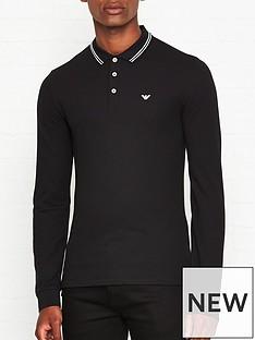 emporio-armani-eagle-logo-long-sleeve-tipped-collar-polo-shirt-black
