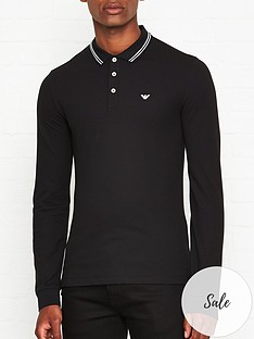 emporio-armani-eagle-logo-long-sleeve-tipped-collar-polo-shirt-black