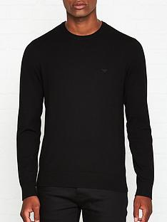 emporio-armani-knitted-logo-detail-jumper-black