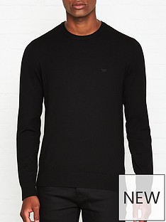 emporio-armani-knitted-logo-detail-jumper-black