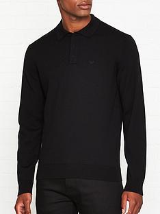 emporio-armani-tonal-logo-knitted-polo-shirt-black